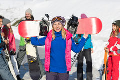 Woman With Snowboard Group Of People Ski Snowboard Resort Winter Snow Mountain Stock Photography