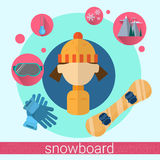 Woman Snowboard Icon Royalty Free Stock Photography