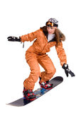 Woman with a snowboard isolated on white Royalty Free Stock Images