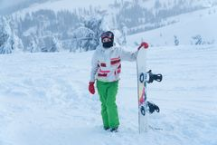 Woman snowboard. snowboarder. winter snow snowboard stock photo