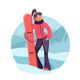 Woman with snowboard vector illustration. Cute girl in winter sport clothes. Girl in ski goggles. Flat style illustration of winter sport Royalty Free Stock Photos