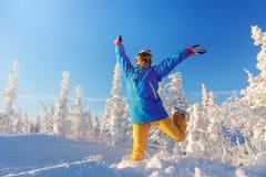 Woman snowboarder having fun. Stock Photos