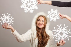 Woman and snowflakes Stock Photo