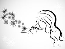 Woman and snowflakes Royalty Free Stock Photography