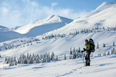 Woman snowshoeing in winter Carpathian mountains.  Stock Photography