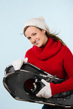 Woman and snowshoes Royalty Free Stock Photos