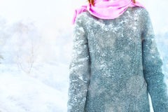 Woman in the snowy coat in the forest Royalty Free Stock Photography
