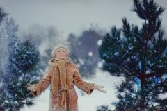 Woman in a snowy forest Stock Image