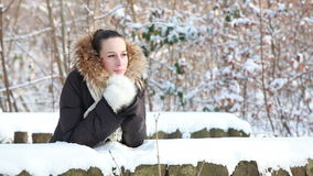 Woman in snowy winter park stock video