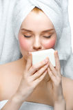 Woman with soap Royalty Free Stock Photo
