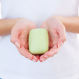 Woman with soap bar. Royalty Free Stock Image