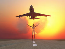 Woman and soaring flight Royalty Free Stock Photo