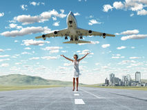 Woman and soaring flight Stock Image