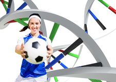 Woman with soccer ball with different dna chains Royalty Free Stock Photography