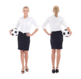 Woman with soccer ball, front and back view Stock Image