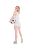 Woman with soccer ball isolated over white Stock Photo