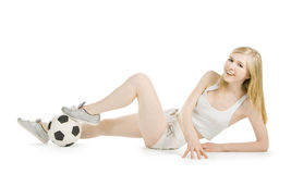 Woman with soccer ball over white Stock Photography