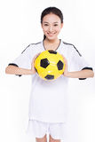 Woman with soccer ball Stock Photos