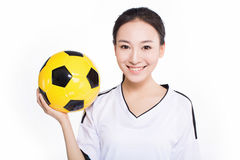 Woman with soccer ball Stock Photos