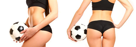 Woman with a soccer ball, side view and rear Stock Photos