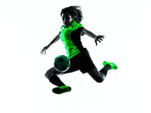 Woman soccer player isolated silhouette Stock Photography