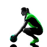 Woman soccer player isolated silhouette Stock Image