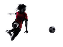 Woman soccer player isolated silhouette Royalty Free Stock Photos
