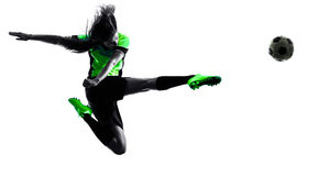 Woman soccer player isolated silhouette Royalty Free Stock Image