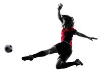 Woman soccer player isolated silhouette Royalty Free Stock Photo
