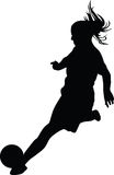 Woman soccer player. Silhouette vector Royalty Free Stock Image
