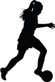 Woman soccer player. Silhouette vector Royalty Free Stock Photos