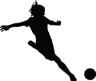 Woman soccer player. Silhouette vector Royalty Free Stock Photography