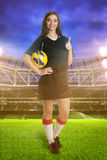 Woman soccer player on stadium Royalty Free Stock Photography