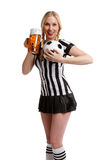 Woman in soccer referee clothes and a beer in her  Royalty Free Stock Photography