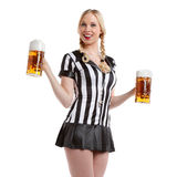 Woman in soccer referee clothes with beer Royalty Free Stock Image