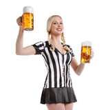 Woman in soccer referee clothes with beer Royalty Free Stock Photos