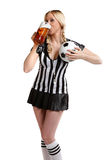 Woman in soccer referee clothes Stock Photo