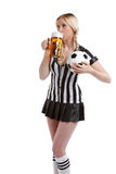 Woman in soccer referee clothes Royalty Free Stock Image