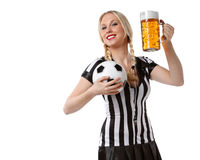 Woman in soccer referee clothes Royalty Free Stock Photos