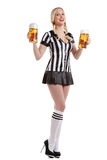 Woman in soccer referee clothes Stock Images
