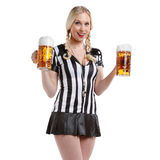Woman in soccer referee clothes Royalty Free Stock Photo