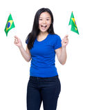 Woman soccer supporter Stock Image