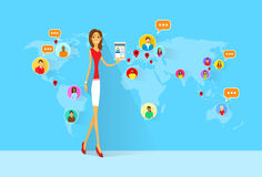 Woman Social Network International Communication Stock Images