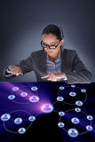The woman in social networks concept Stock Photography