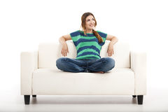 Woman at the sofa Stock Photo