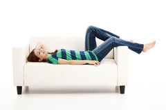 Woman at the sofa Stock Image