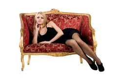 Woman on Sofa royalty free stock photography
