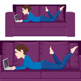 Woman Sofa Laptop Stock Images