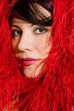 Woman in soft red material Royalty Free Stock Images