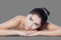 Woman with soft skin after skin care Royalty Free Stock Image
